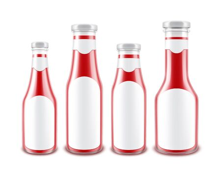 Set of Blank Glass Glossy Red Tomato Ketchup Bottles