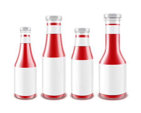 nutritive: Set of Glass Glossy Red Tomato Ketchup Bottles with labels