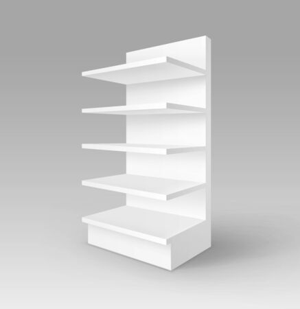 foreshortening: White Blank Empty Exhibition Trade Stand Shop Rack with Shelves Storefront Isolated on Background