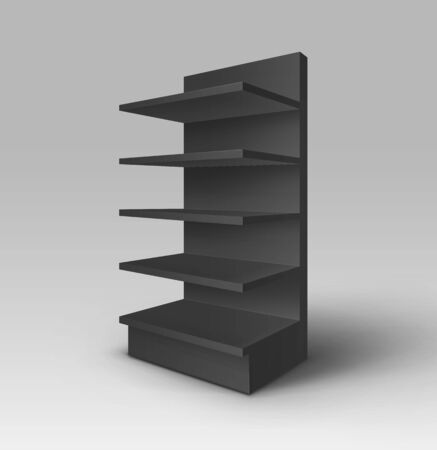 foreshortening: Black Blank Empty Exhibition Trade Stand Shop Rack with Shelves Storefront Isolated on Background Illustration
