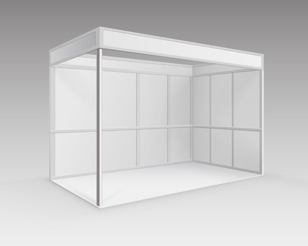 exhibitions: Vector White Blank Indoor Trade exhibition Booth Standard Stand for Presentation in Perspective Isolated on Background Stock Photo