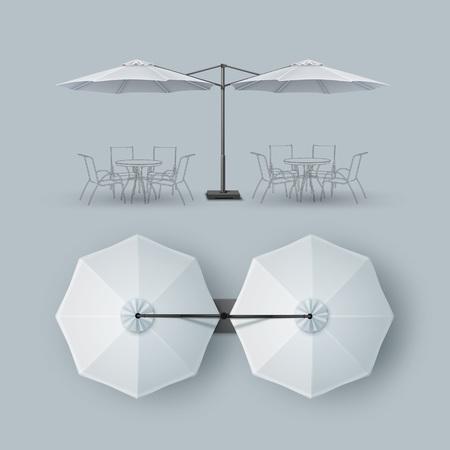 lounge bar: White Patio Double Outdoor Cafe Bar Lounge Restaurant Umbrella Parasol