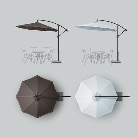 patio: Set of Brown White Blank Patio Outdoor Beach Cafe Umbrella