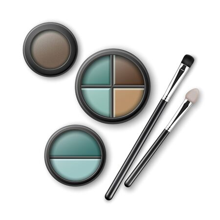 Set of Blue Brown Ocher Eye Shadows with Brushes