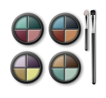 eyelids: Set of MultiColored Eye Shadows and Makeup Brushes Illustration