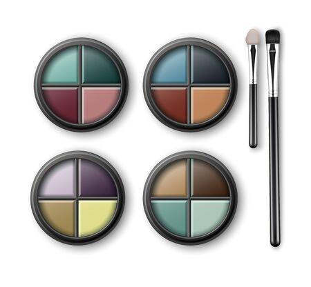 eye shadows: Set of MultiColored Eye Shadows and Makeup Brushes Illustration