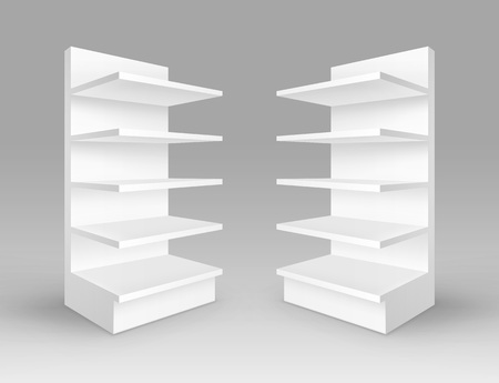 single shelf: Set of White Exhibition Trade Stands Shop Racks with Shelves