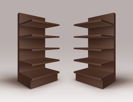 Set of Brown Stands Shop Racks with Shelves Storefronts Isolated