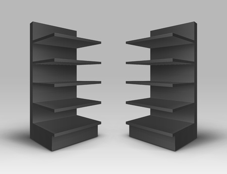 Set of Exhibition Trade Stands Racks with Shelves Storefronts Isolated