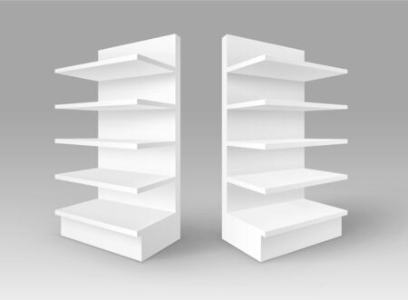 single shelf: Set of White Blank Empty Exhibition Trade Stands Shop Racks Illustration