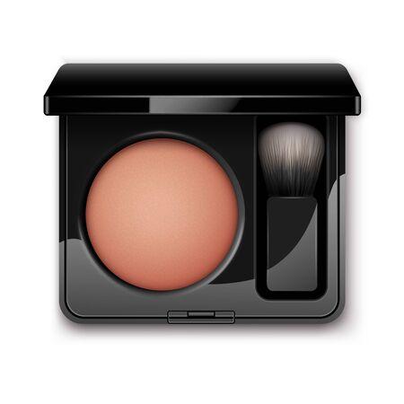 De colorete en la caja de plástico Negro con el cepillo del maquillaje
