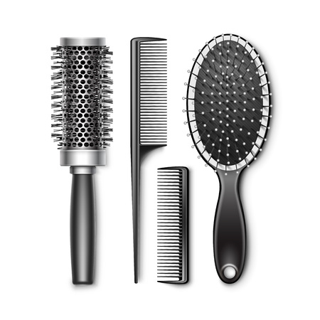 hair brush: Set of Black Plastic Grooming and Hot Curling Radial Pocket Hair Brush Comb Professional Hairdresser Tools