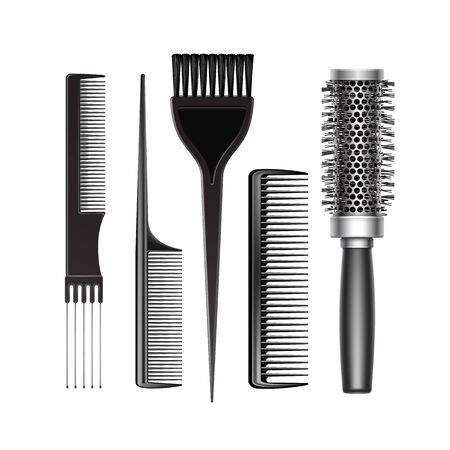 Set of Black Plastic Grooming and Hot Curling Radial Pocket Hair Brush Comb Professional Hairdresser Tools