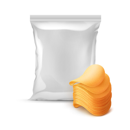 Vector Vertical Sealed Foil Plastic Bag for Package Design with Stack of Potato Crispy Chips Close up Isolated on White Background