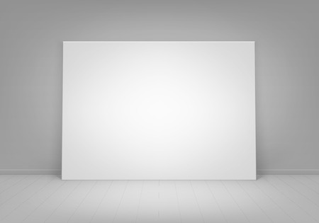blank poster: Vector Empty Blank White Mock Up Poster Picture Frame Standing on Floor with Wall Front View