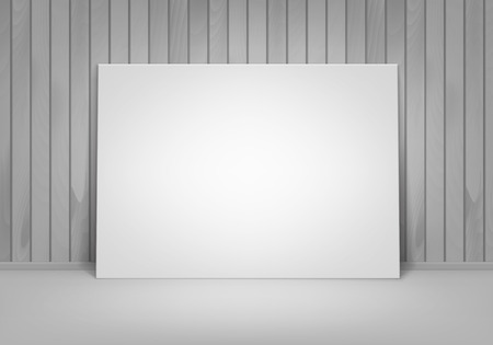 empty frame: Vector Empty Blank White Mock Up Poster Picture Frame Standing on Floor with Wooden Wall Front View