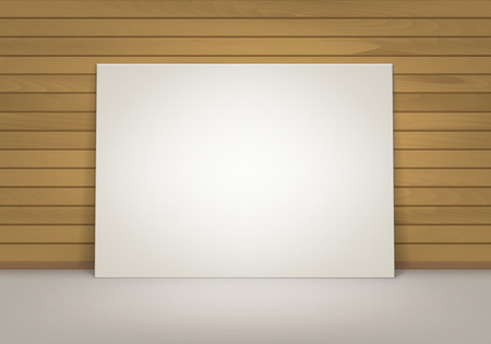 Vector Empty Blank White Mock Up Poster Picture Frame Standing on Floor with Brown Sienna Wooden Wall Front View Illustration