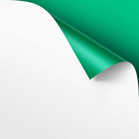metalic design: Vector Curled corner of White paper with shadow Mock up Close up Isolated on Bright Green Background