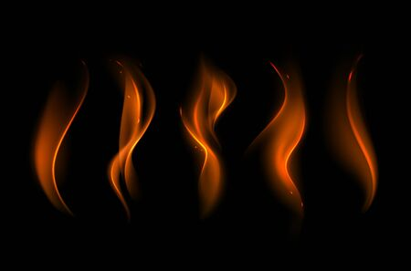 scorch: Vector Set of  Different Yellow Orange Fire Flame on Background