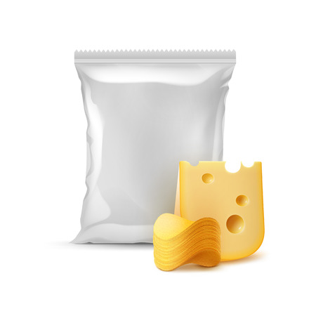 Stack of Potato Crispy Chips with Cheese and Vertical Sealed Empty Plastic Foil Bag Isolated on White Background Stock Photo
