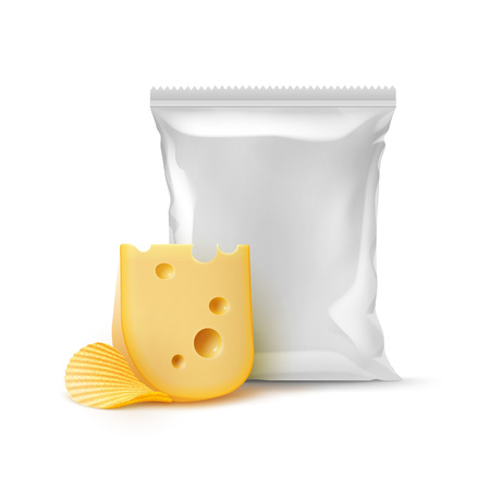 Potato Chips with Cheese and Sealed Foil Bag