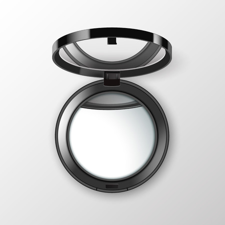 Black Round Pocket Cosmetic Make up Small Mirror Isolated on White Background Illustration