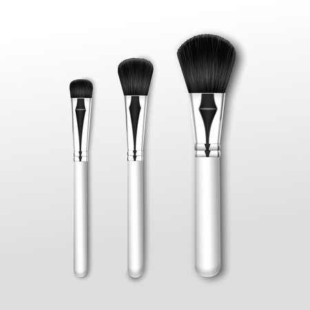 black professional: Vector Set of Black Clean Professional Makeup Powder Round Large Medium Small Brush with White Handle Isolated on White Background Illustration