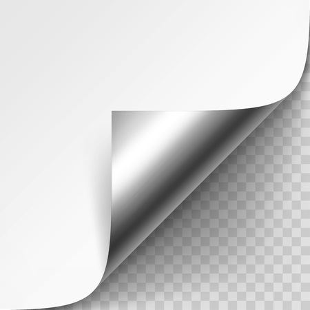 metalic: Curled Metalic Corner of White Paper with Shadow Mock up Illustration