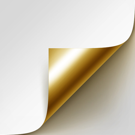 Vector Curled Golden Corner of White Paper with Shadow Isolated