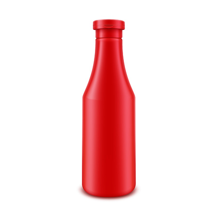 nutritive: Blank Plastic Red Tomato Ketchup Bottle for Branding without label