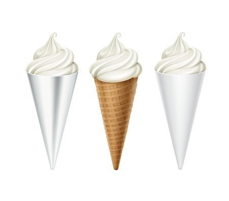 set of White Ice Cream Waffle Cone in Foil Wrapper