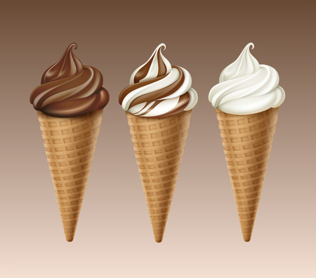 set van Chocolate White Soft Serve Ice Cream Waffle Cone Stock Illustratie
