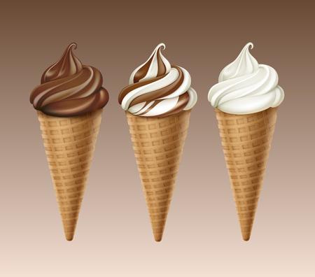 Zestaw czekoladowe białe miękkie serwetki lody wafel stożek