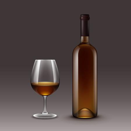 Set of Wine Bottles and Glasses Illustration