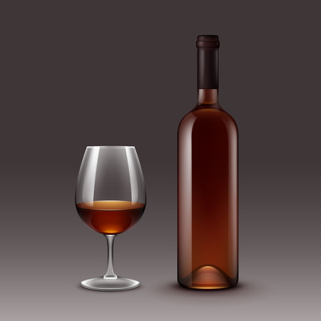 Vector Set of Wine Bottles and Glasses on Background