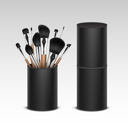 black shadow: Set of Professional Makeup Concealer Powder Blush Eye Shadow Brow Brushes with Wooden Handles in Black Leather Tube