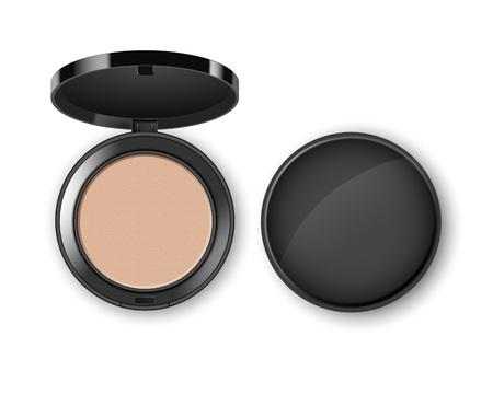 Vektor-Gesichts-kosmetisches Make-uppulver im Plastikfall auf Hintergrund