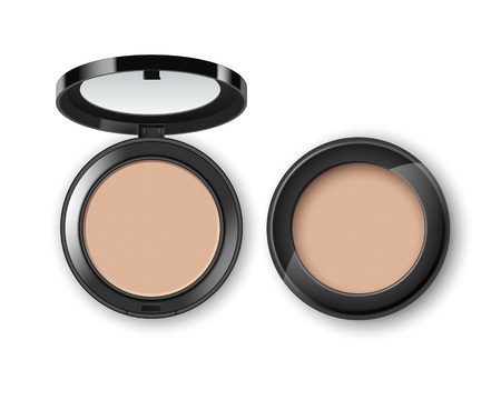 dark complexion: Vector Face Cosmetic Makeup Powder in Black Plastic Case Top View Isolated on White Background