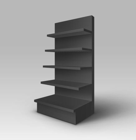 foreshortening: Vector Black Blank Empty Exhibition Trade Stand Shop Rack with Shelves Storefront Isolated on Background