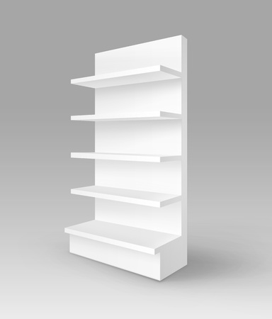 foreshortening: Vector White Blank Empty Exhibition Trade Stand Shop Rack with Shelves Storefront Isolated on Background
