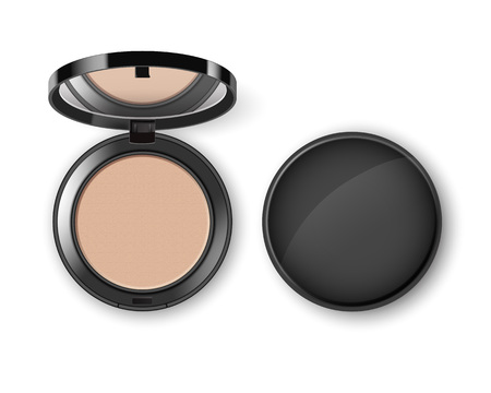 compact: Face Cosmetic Makeup Powder in Case with Mirror