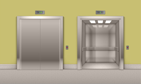 stage door: Vector Realistic Open and Closed Chrome Metal Office Building Elevator Doors Isolated on Background