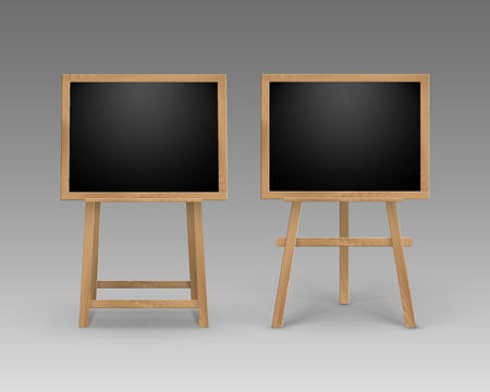 portative: Vector Set of Wooden Easels with Mock Up Empty Blank Square Black Boards Isolated on Background Stock Photo
