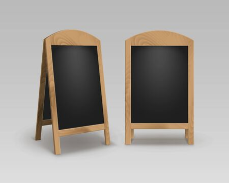 black boards: Vector Set of Wooden Empty Blank Advertising Street Sandwich Stands Sidewalk Signs Black Menu Boards Isolated on Background Stock Photo