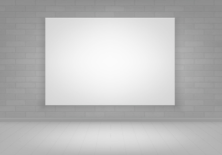 blank poster: Vector Empty White Mock Up Poster Picture Frame on Brick Wall with Floor Front View