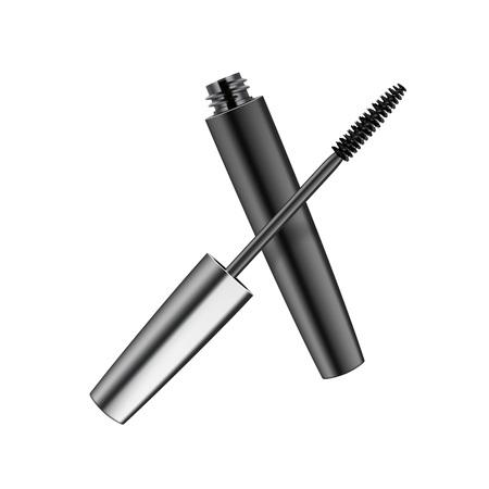 Vector Opened Black Realistic Mascara in Dark Metallic Shiny Tube Isolated on Background
