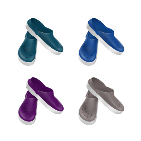 Set of Colored Gray Blue Green Purple Medical Footwear Clogs Isolated on White Background
