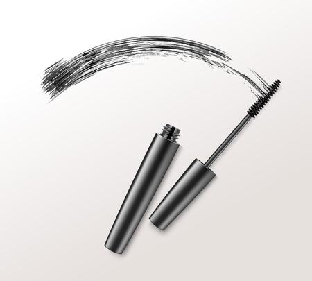 Black Mascara Brush Strockes on Background  イラスト・ベクター素材