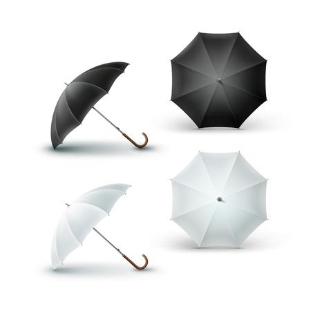 Set of White Black Opened Rain Umbrella Sunshade