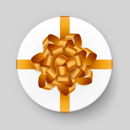 closed ribbon: Vector Round Box with Yellow Bow on Background